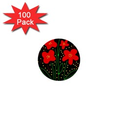 Red flowers 1  Mini Buttons (100 pack)