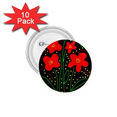 Red flowers 1.75  Buttons (10 pack)