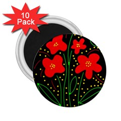Red flowers 2.25  Magnets (10 pack)