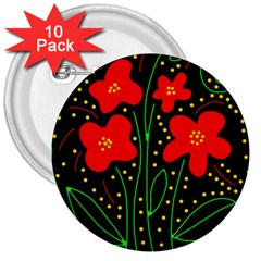 Red flowers 3  Buttons (10 pack)