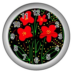 Red flowers Wall Clocks (Silver)