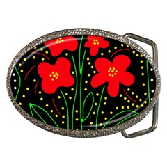 Red flowers Belt Buckles