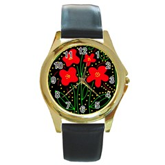 Red flowers Round Gold Metal Watch