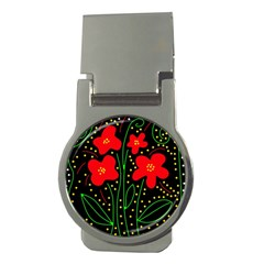Red flowers Money Clips (Round)