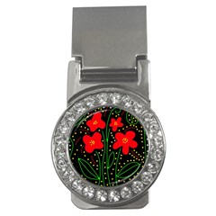 Red flowers Money Clips (CZ)