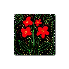 Red flowers Square Magnet