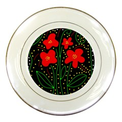 Red flowers Porcelain Plates