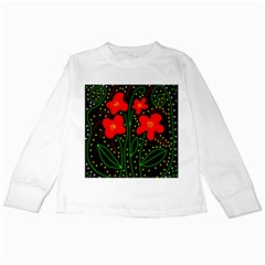 Red flowers Kids Long Sleeve T-Shirts