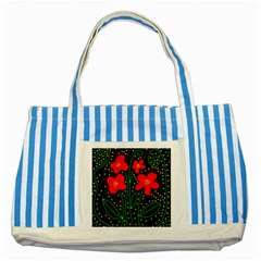 Red flowers Striped Blue Tote Bag