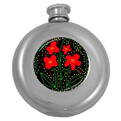 Red flowers Round Hip Flask (5 oz)