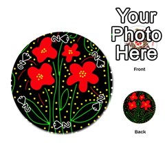 Red flowers Playing Cards 54 (Round)