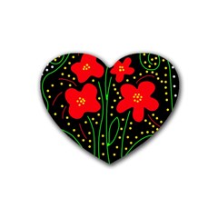 Red flowers Heart Coaster (4 pack)