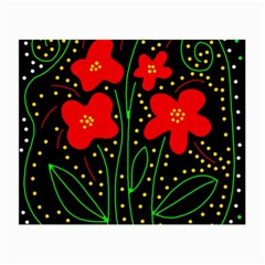 Red flowers Small Glasses Cloth (2-Side)