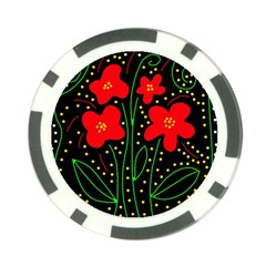 Red flowers Poker Chip Card Guards