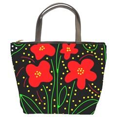 Red flowers Bucket Bags
