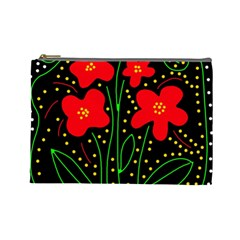 Red flowers Cosmetic Bag (Large)