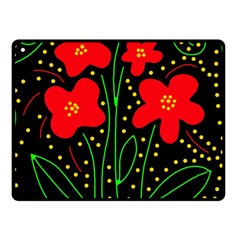 Red flowers Fleece Blanket (Small)