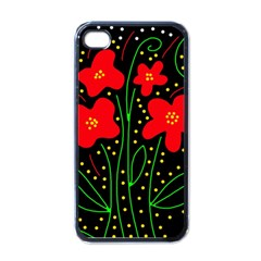 Red flowers Apple iPhone 4 Case (Black)