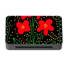 Red flowers Memory Card Reader with CF
