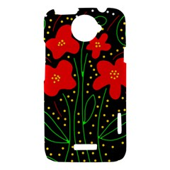 Red flowers HTC One X Hardshell Case