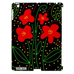 Red flowers Apple iPad 3/4 Hardshell Case (Compatible with Smart Cover)