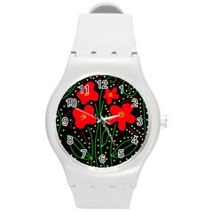 Red flowers Round Plastic Sport Watch (M)