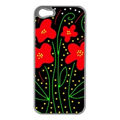 Red flowers Apple iPhone 5 Case (Silver)