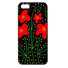 Red flowers Apple iPhone 5 Seamless Case (Black)