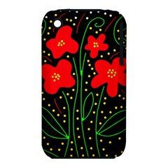 Red flowers Apple iPhone 3G/3GS Hardshell Case (PC+Silicone)