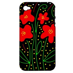 Red flowers Apple iPhone 4/4S Hardshell Case (PC+Silicone)