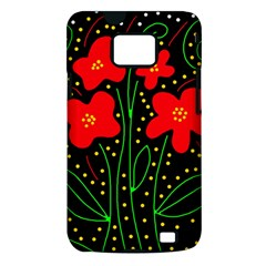 Red flowers Samsung Galaxy S II i9100 Hardshell Case (PC+Silicone)