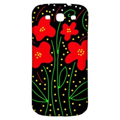 Red flowers Samsung Galaxy S3 S III Classic Hardshell Back Case