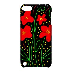 Red flowers Apple iPod Touch 5 Hardshell Case with Stand