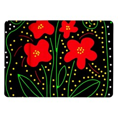 Red flowers Samsung Galaxy Tab 10.1  P7500 Flip Case