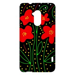 Red flowers HTC One Max (T6) Hardshell Case