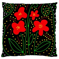 Red flowers Large Flano Cushion Case (One Side)