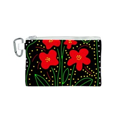 Red flowers Canvas Cosmetic Bag (S)
