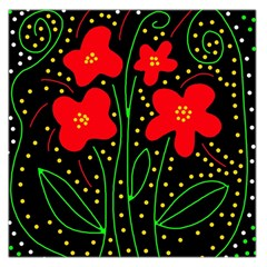 Red flowers Large Satin Scarf (Square)