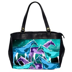 Horses Under A Galaxy Oversize Office Handbag (two Sides)
