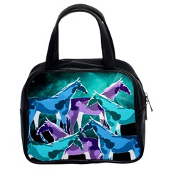 Horses Under A Galaxy Classic Handbag (two Sides)