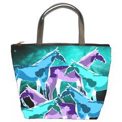 Horses Under A Galaxy Bucket Handbag