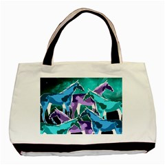 Horses Under A Galaxy Twin Sided Black Tote Bag