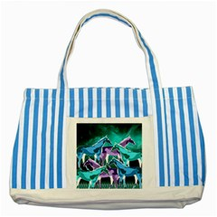 Horses Under A Galaxy Blue Striped Tote Bag