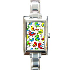 Colorful cute birds pattern Rectangle Italian Charm Watch