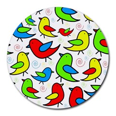 Colorful cute birds pattern Round Mousepads