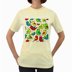 Colorful cute birds pattern Women s Yellow T-Shirt