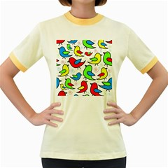 Colorful cute birds pattern Women s Fitted Ringer T-Shirts