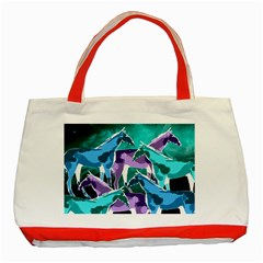 Horses Under A Galaxy Classic Tote Bag (red)