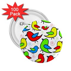 Colorful cute birds pattern 2.25  Buttons (100 pack)