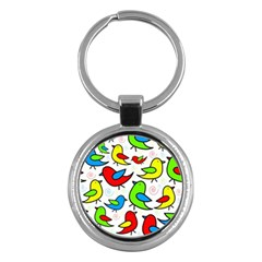 Colorful cute birds pattern Key Chains (Round)